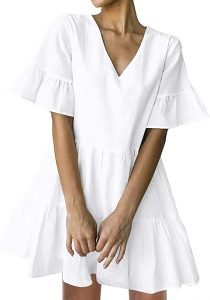 FANCYINN Womens White Cute Shift Dress Short Bell Sleeve Ruffle Hem V Neck Loose Swing Tunic Mini Dress with Pockets S