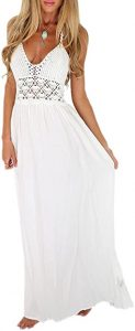 LILBETTER Women's Beach Crochet Backless Bohemian Halter Maxi Long Dress (White,Small)