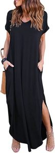 HUSKARY Womens Casual Pocket Beach Long Dress Short Sleeve Split Loose Maxi Dress, Black 01, Large