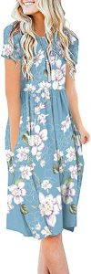 DB MOON Women Summer Casual Short Sleeve Dresses Empire Waist Dress with Pockets (Flower Light Blue, L)