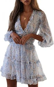 Casual Dresses - Dokotoo Womens Square Neckline Long Sleeve Floral Print Mini Dress