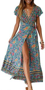 ZESICA Women's Bohemian Floral Printed Wrap V Neck Short Sleeve Split Beach Party Maxi Dress Green