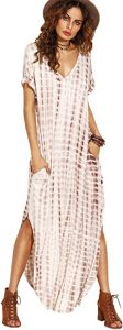 MakeMeChic Women's Boho Maxi Short Sleeve Split Pockets Tie Dye Long Dress