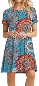 POPYOUNG Women's Summer Casual Tshirt Dresses Large, Floral Mixed Blue