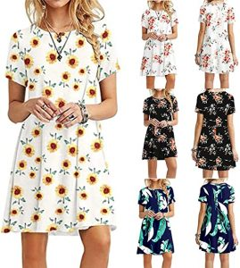 Dress for Womens Summer Short Sleeve Dresses Solid Color Sunflower/Daisy/Tie Dye Printed O Neck Mini Shift Dress