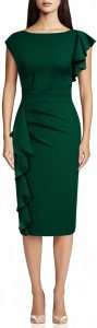 Boat Neck Dresses - AISIZE Women's Pinup Vintage Ruffle Sleeves Cocktail Party Pencil Dress