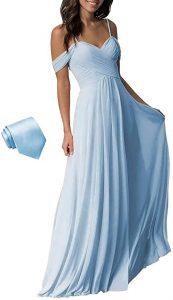 YUESUO Wedding Bridesmaid Dress Long Cold Shoulder Pleated Chiffon Formal Dress