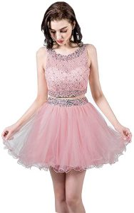 TANGFUTI Women's Two Piece Homecoming Dresses Short Beaded Tulle Prom Gowns 2 Blush