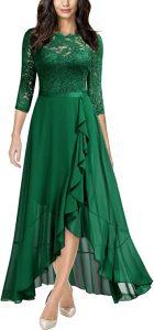 Miusol Women's Elegant Floral Lace Ruffle Bridesmaid Maxi Dress