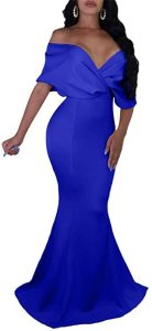 Prom Dresses - GOBLES Women Sexy V Neck Off The Shoulder Evening Gown Fishtail Maxi Dress