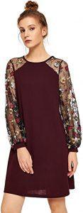DIDK Women's Mesh Long Sleeve Pullover Tunic Dress