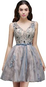 Babyonlinedress 2017 Juniors Short Prom Dresses Tull Party Homecoming Gown,Silver