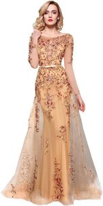Prom Dresses -,Meier Women's Illusion Long Sleeve Embroidery Prom Formal Dress