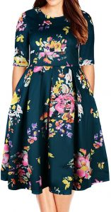 Samtree Women's Plus Size Floral 3/4 Sleeve Backless Cocktail Party Swing Dress