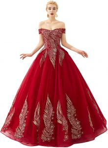 Engerla Women's Beading Sweetheart Ball Gown Tulle Layed Long Quinceanera Dress